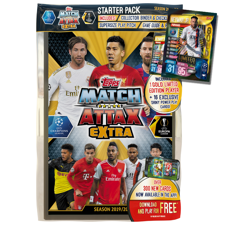 Champions League 2019-20 Topps Match Attax Extra Cards Mini Tin 45 Cards + LE Gold Card